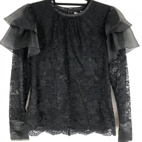 Rachel Parcell Lace Top with Shoulder Flutter